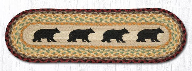 "Capitol Earth Rugs Cabin Bear Jute Stair Tread, 8.5"" x 27"" Oval"