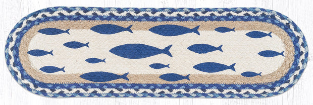 "Capitol Earth Rugs Fish Printed Jute Stair Tread, 8.5"" x 27"" Oval"