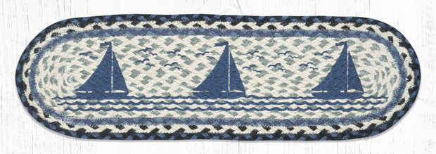 "Capitol Earth Rugs Sailboat Printed Jute Stair Tread, 8.5"" x 27"" Oval"