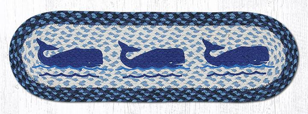 "Capitol Earth Rugs Whale Jute Stair Tread, 8.5"" x 27"" Oval"