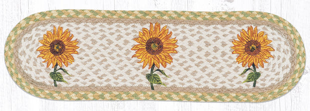 "Capitol Earth Rugs Sunflower Printed Jute Stair Tread, 8.5"" x 27"" Oval"