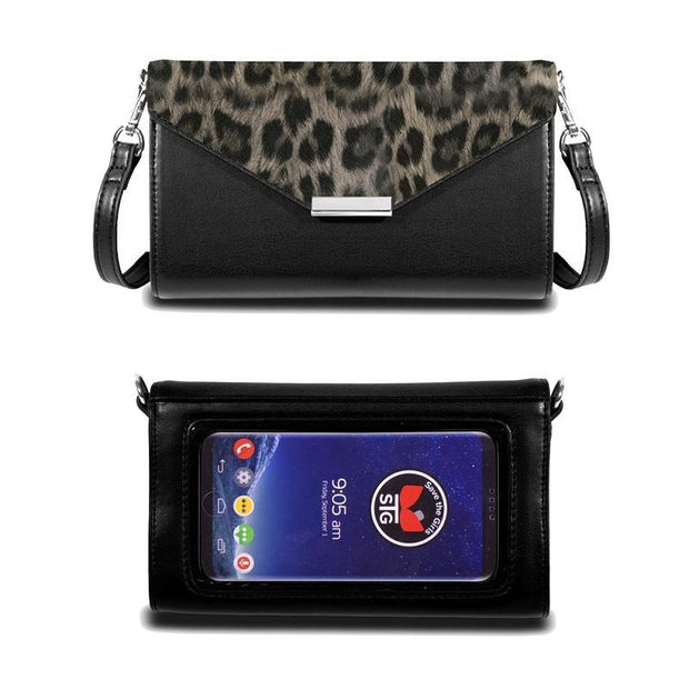 Save the Girls Timeless Touch Screen Purse, Leopard Grey