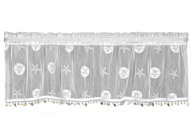 "Heritage Lace Sand Dollar 45""x15"" Valance, set of 2 - White"