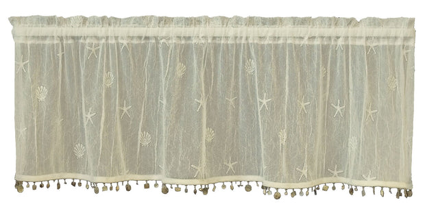 Heritage Lace Sand Shell Valance with Shell Trim, set of 2 - Ecru