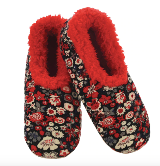 Red Floral Corduroy Snoozies Slippers