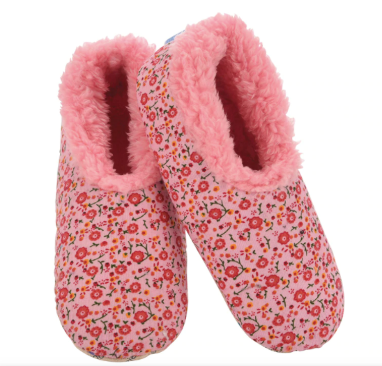 Pink Floral Corduroy Snoozies Slippers