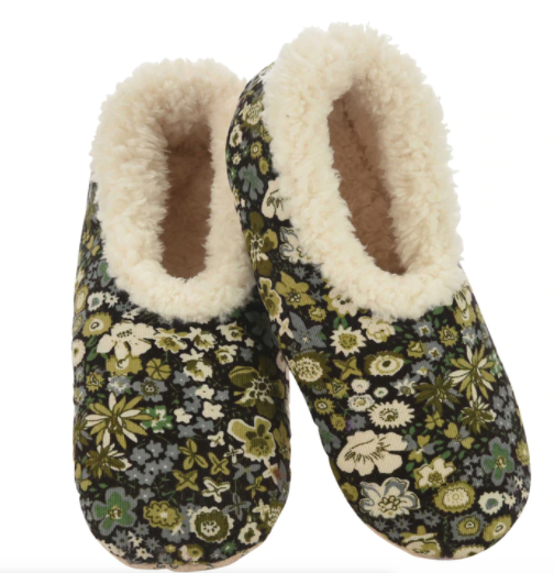 Green Floral Corduroy Snoozies Slippers