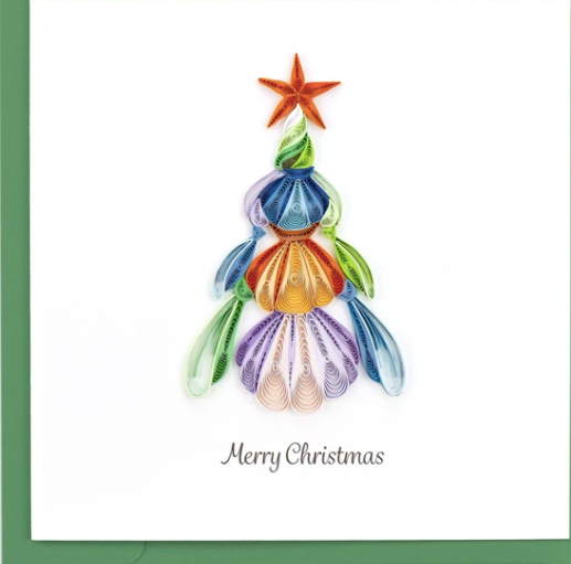 Seashell Christmas Tree Quilling Card