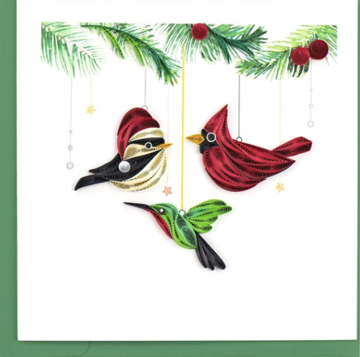 Holiday Bird Ornaments Quilling Card