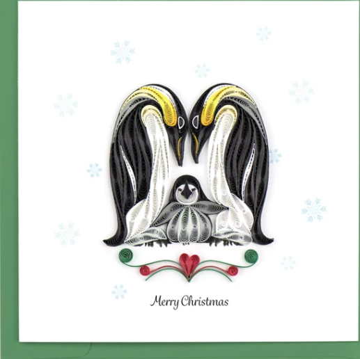 Christmas Penguin Family Quilling Card