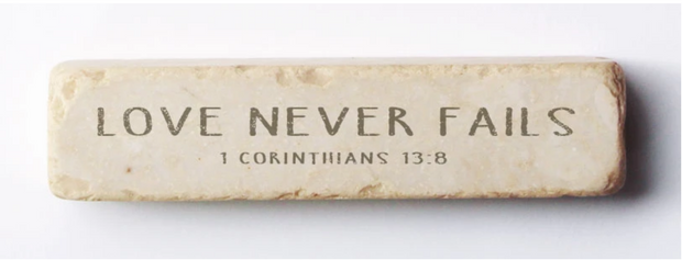 Twelve Stone Art 1 Corinthians 13:18 Scripture Stone, Quarter Block