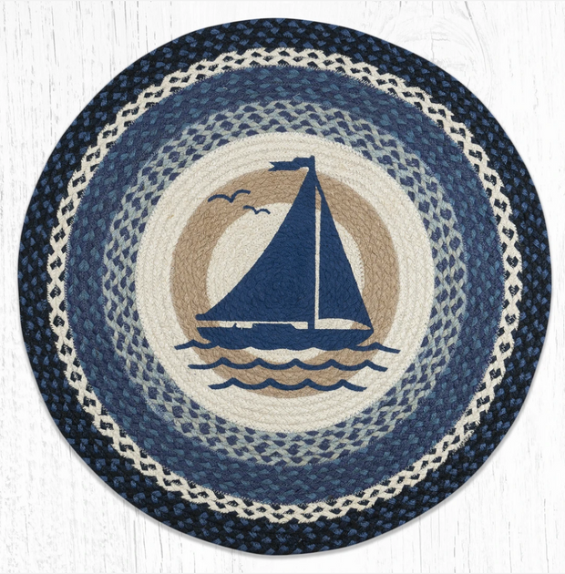 Capitol Earth Rugs Sailboat Round Patch Rug