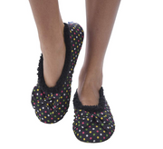 Black Dottie Ballerina Snoozies Slippers