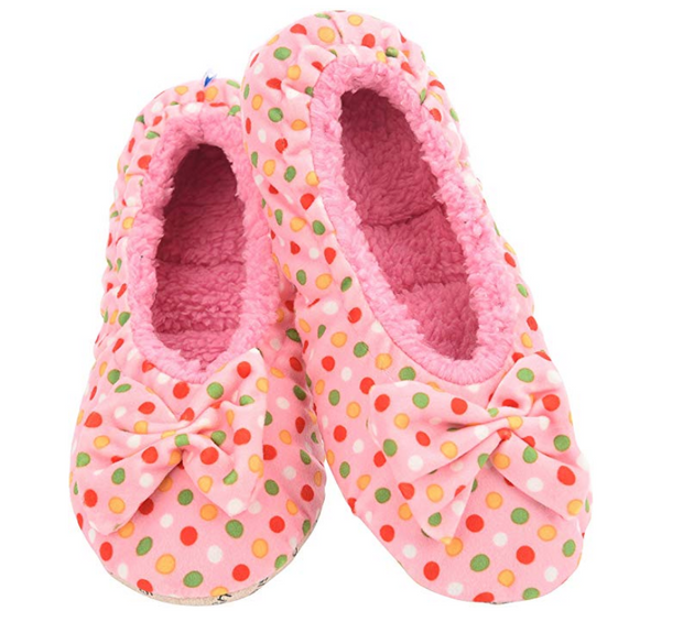 Pink Dottie Ballerina Snoozies Slippers