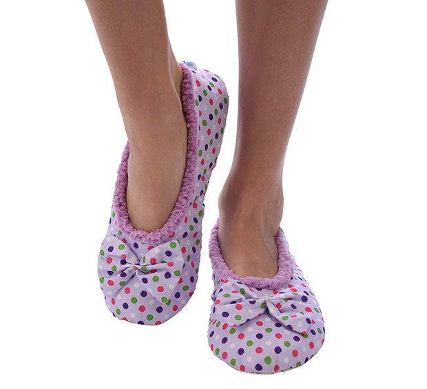 Lilac Dottie Ballerina Snoozies Slippers
