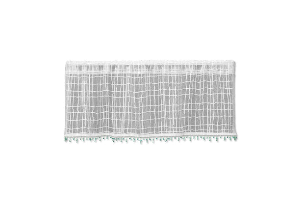 "Heritage Lace Seacoast 45""x15"" Valance with Sea Glass Trim, White"