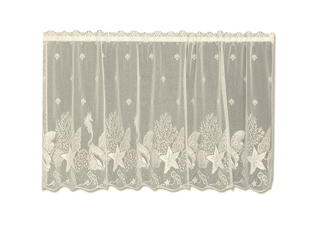"Heritage Lace Seascape 60""x 30"" Tier Curtain - Ecru"