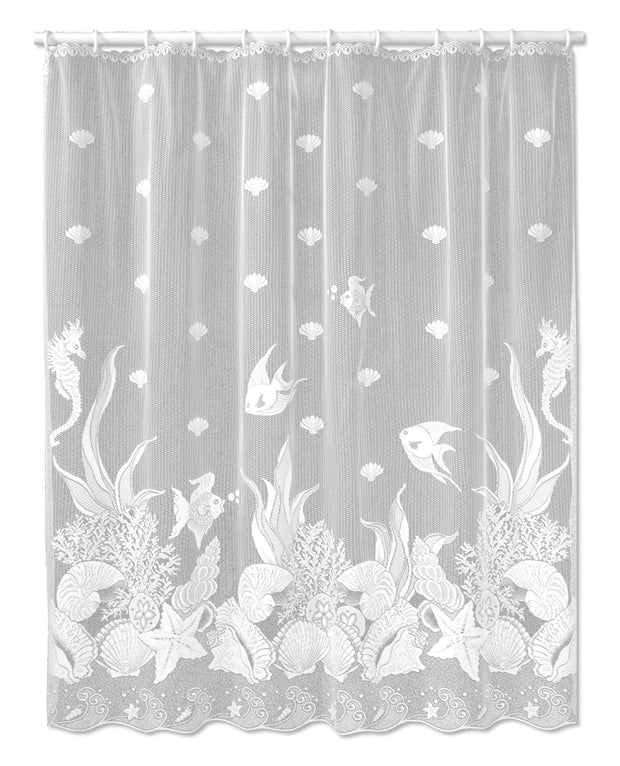 Heritage Lace Seascape Curtain Collection, White, Shower Curtain