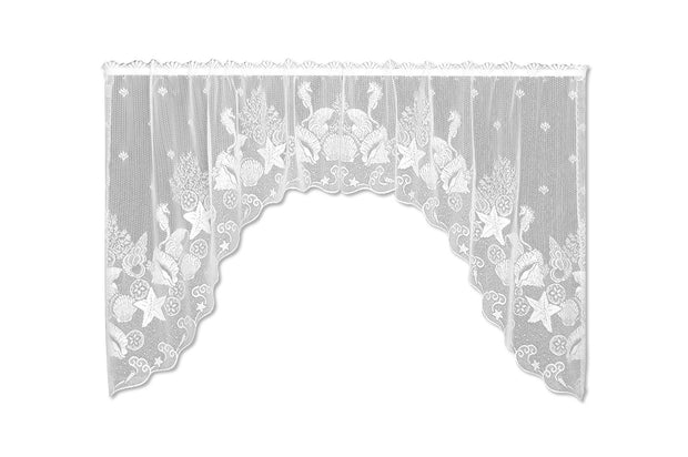 Heritage Lace Seascape Curtain Collection, White, Swag Pair
