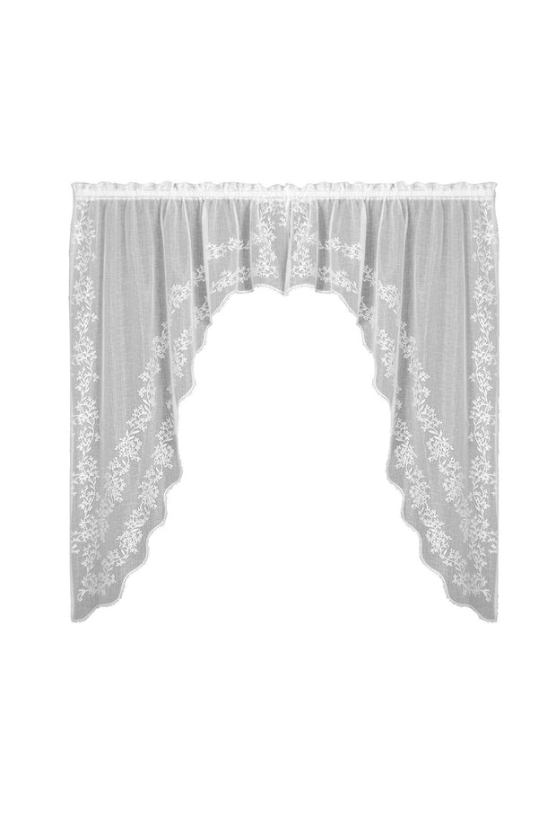 Heritage Lace Sheer Divine Swag Pair, White