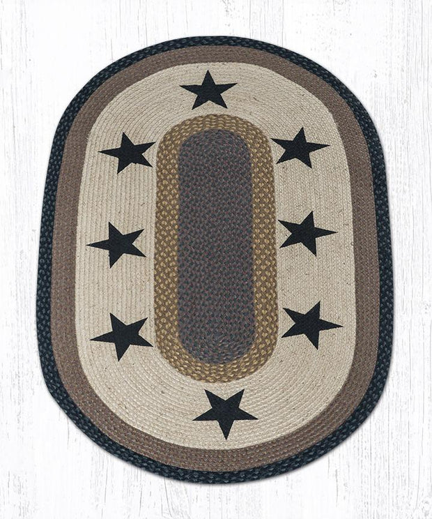 Capitol Earth Rugs Black Stars on Black Oval Patch Rug