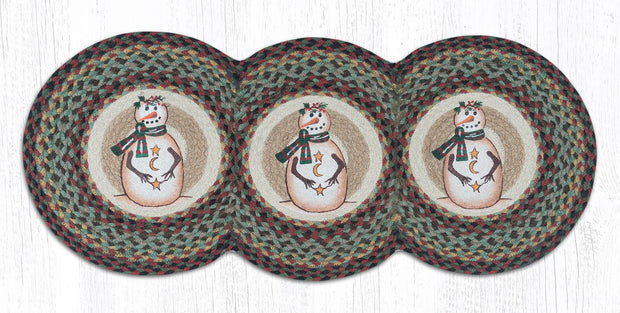 "Capitol Earth Rugs Moon & Star Snowman Jute Tri-Circle Table Runner, 15"" x 36"""