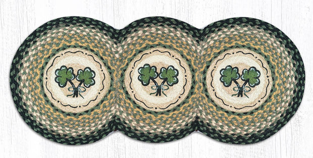 "Capitol Earth Rugs Shamrock Jute Tri-Circle Table Runner, 15"" x 36"""
