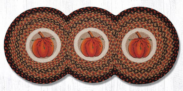 "Capitol Earth Rugs Harvest Pumpkin Jute Tri-Circle Table Runner, 15"" x 36"""