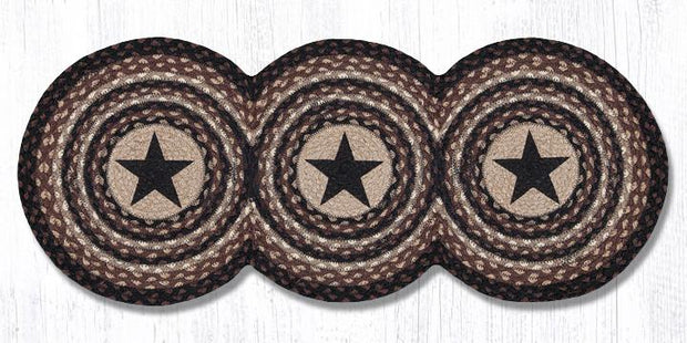 "Capitol Earth Rugs Black Stars Jute Tri-Circle Table Runner, 15"" x 36"""