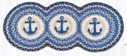 "Capitol Earth Rugs Navy Anchor Jute Tri-Circle Table Runner, 15"" x 36"""