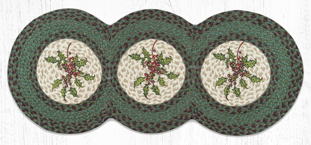 "Capitol Earth Rugs Holly Printed Jute Table Runner, 15"" x 36"" Tri-Circle"