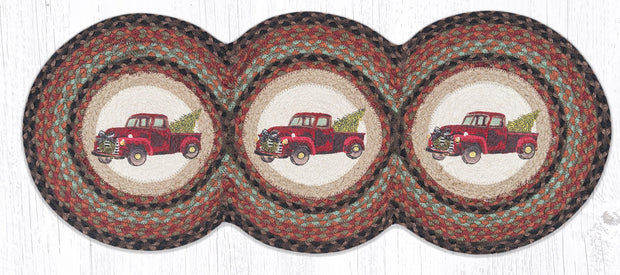 "Capitol Earth Rugs Christmas Truck Jute Tri-Circle Table Runner, 15"" x 36"""