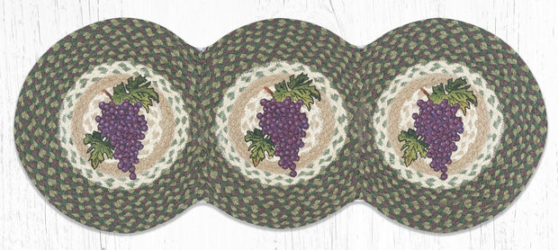 "Capitol Earth Rugs Grapes Tri-Circle Printed Jute Table Runner, 15"" x 36"""