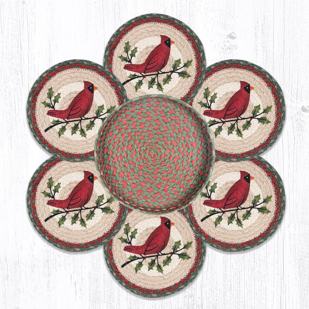 Capitol Earth Rugs Holly Cardinal Trivets in a Basket Collection