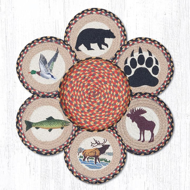 Capitol Earth Rugs Wildlife Trivets in a Basket