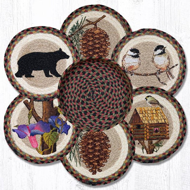 Capitol Earth Rugs Cabin Bear Printed Jute Trivets in a Basket Collection