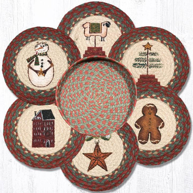 Capitol Earth Rugs Winter Printed Jute Trivets in a Basket Set