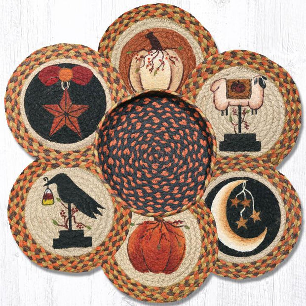 Capitol Earth Rugs Autumn Printed Jute Trivets in a Basket Set
