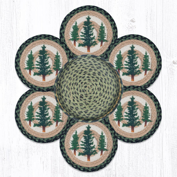 Capitol Earth Rugs Tall Timbers Trivets in a Basket Collection