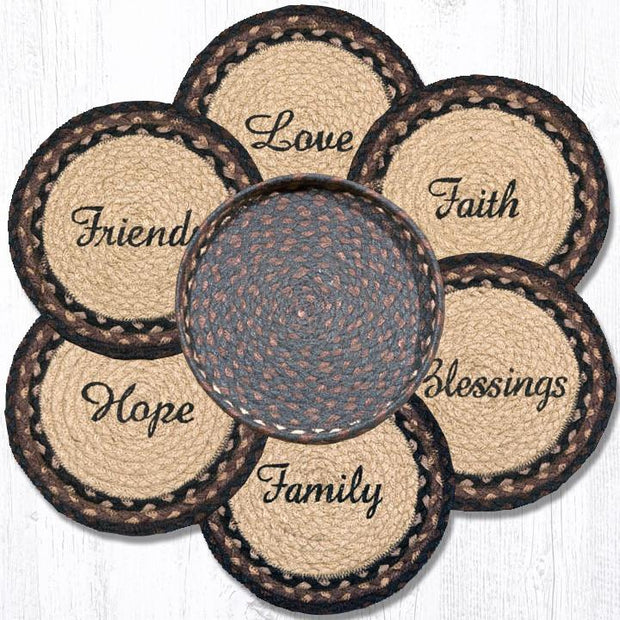 Capitol Earth Rugs Blessings Printed Jute Trivets in a Basket Set