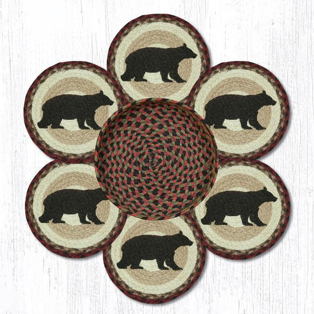 Capitol Earth Rugs Cabin Bear Printed Jute Trivets in a Basket Set