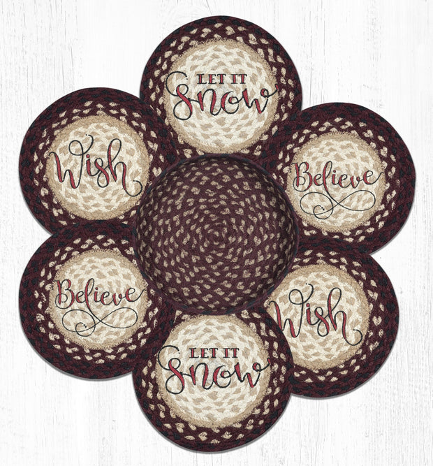 Capitol Earth Rugs Festive Printed Jute Trivets in a Basket