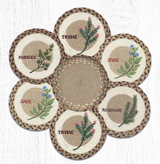 Capitol Earth Rugs Herb Printed Jute Trivets in a Basket