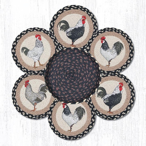 Capitol Earth Rugs Rooster Printed Jute Trivets in a Basket Set