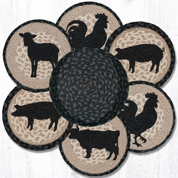 Capitol Earth Rugs Barnyard Animals Printed Jute Trivets in a Basket Set