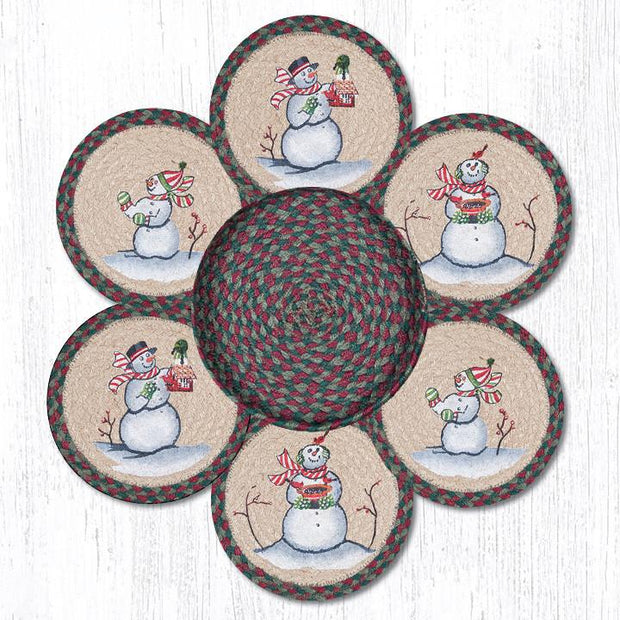 Capitol Earth Rugs Snowman Printed Jute Trivets in a Basket Set