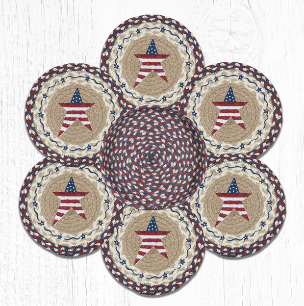 Capitol Earth Rugs Primitive American Star Printed Jute Trivets in a Basket