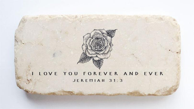 Jeremiah 31:3 Scripture Stone with Flower
