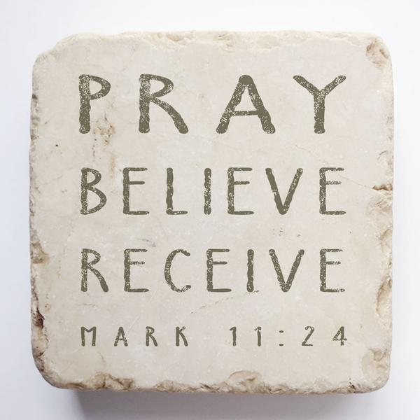 Mark 11:24 Scripture Stone - Small Block