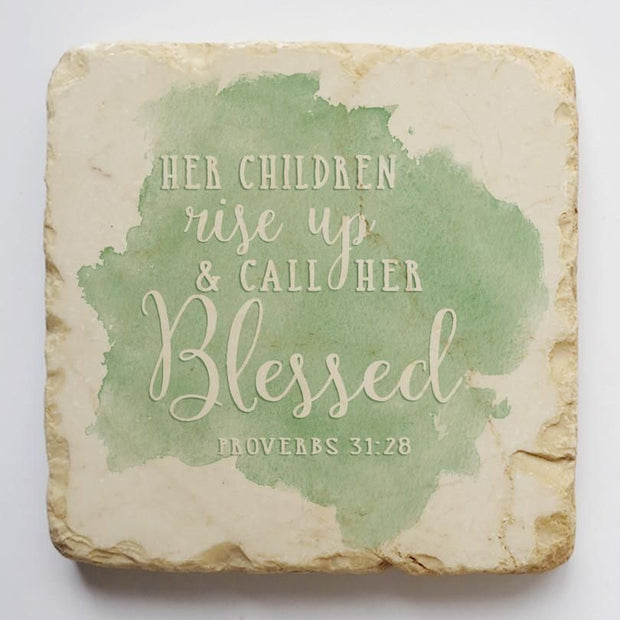 Proverbs 31:28 Scripture Stone with Green Background